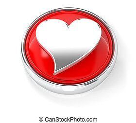 Heart icon on glossy red round button