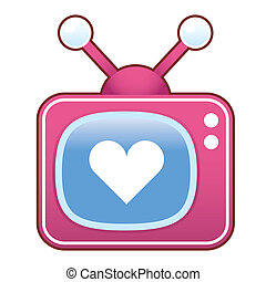 Heart icon on retro television