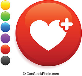heart icon on round internet button
