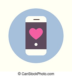 Heart Icon On Smart Phone Message On Blue Round Background Isolated