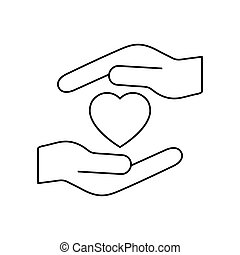 Heart icon on the hand