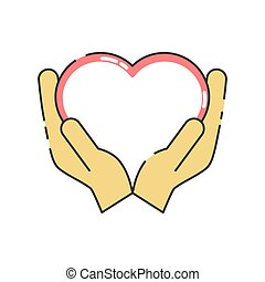 Heart icon on the hand isolated