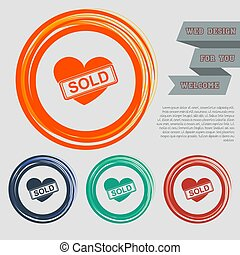 Heart icon on the red, blue, green, orange buttons for your website and design with space text. Vector