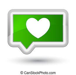 Heart icon prime green banner button