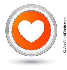 Heart icon prime orange round button