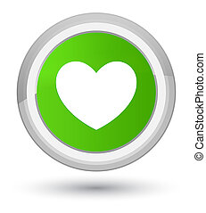 Heart icon prime soft green round button