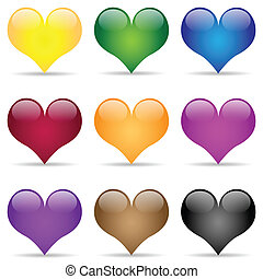 Illustration of heart in different colors on a white background.