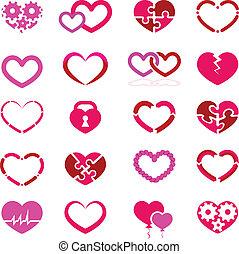 Heart icon set illustration on white background