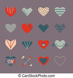 Heart icon set in retro colors in flat style