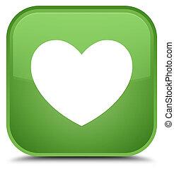 Heart icon special soft green square button