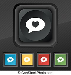 Heart icon symbol. Set of five colorful, stylish buttons on black texture for your design. Vector