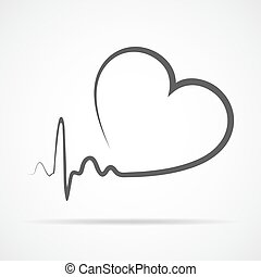 Heart icon. Vector illustration. - Gray heart icon with sign...