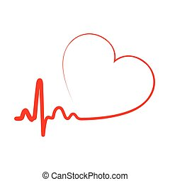 Heart icon. Vector illustration. - Red heart icon with sign...