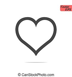 Heart Icon Vector. Love symbol. Valentine s Day sign, emblem isolated on white background with shadow, Flat style for graphic and web design, logo. black pictogram