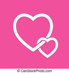 Heart Icon Vector. on Pink background