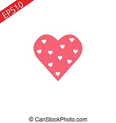 Heart Icon Vector. Perfect Love symbol. Valentine s Day sign, emblem isolated on white background with shadow, Flat style for graphic and web design, logo. EPS10 black pictogram.