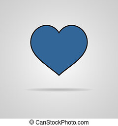 Heart Icon Vector with shadow