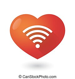 Heart icon with a radio signal sign