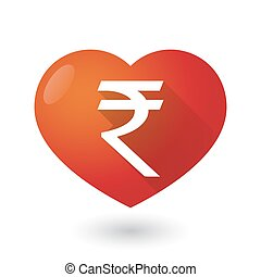 Heart icon with a rupee sign