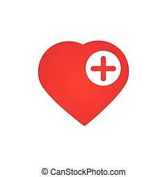 Heart icon with Add sign, favorite symbol plus mark element. vector illustration isolated on white background.