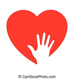 Heart icon with caring hand