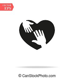 heart icon with caring hands. design white background vector illustration