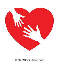 heart icon with caring hands, vector icon
