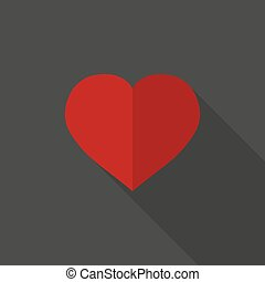 Heart icon with long shadow. Vector illustration