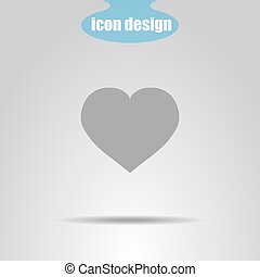 Heart icon with shadow in gray. Vector illustration