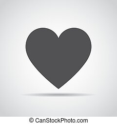 Heart icon with shadow on a gray background. Vector illustration