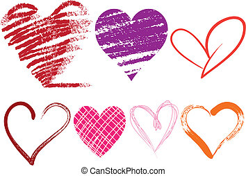heart icons - set of doodle hearts with grungy texture,...