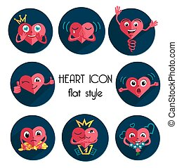 heart icons in flat style
