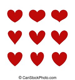 Heart icons isolated on white. Vector shapes.