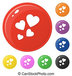 Heart icons set 8 colors isolated on white. Collection of glossy round colorful buttons. Vector illustration for any design.