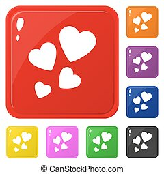 Heart icons set 8 colors isolated on white. Collection of glossy square colorful buttons. Vector illustration for any design.
