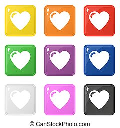 Heart icons set 9 colors isolated on white. Collection of glossy square colorful buttons. Vector illustration for any design.