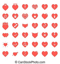 Heart Icons Set in Vector illustration