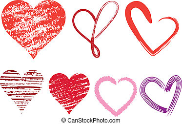 heart icons - set of doodle hearts with grungy texture, ...