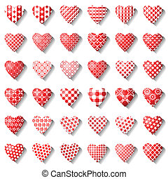 Heart icons set.