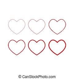 Heart icons, thin linear vector symbols