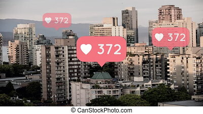 Heart icons with numbers in a city background 4k