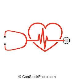 heart., illustratie, meldingsbord, vector, hartslag, stethoscope