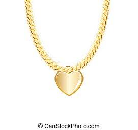 heart., illustration., 鎖, ベクトル, whith, 金の宝石類