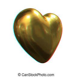heart., illustration., 3d, anaglyph., metall, zien, glanzend, 3d., aanzicht, red/cyan, bril