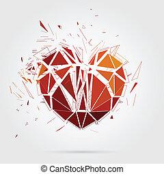 heart., illustration., abstrakcyjny, złamany, wektor, 3d