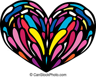 Heart. Design elements Stained Glass. Vector illustration.
