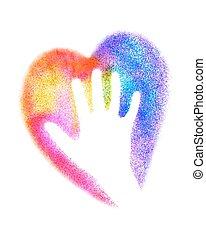 heart., illustration., kleurrijke, eps10., hand, vector, graffiti