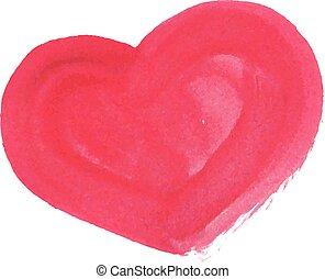 heart., illustration, main, aquarelle, vecteur, dessiné