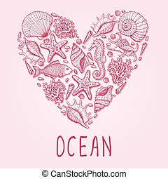 heart., illustration, océan, dessiné, main, original