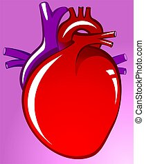 Heart	 - Illustration of heart in violet background